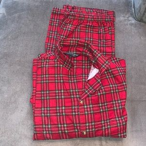 Plaid Christmas Pajama Set Size Large 100% Cotton